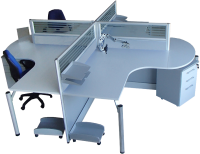 Partitioned Workstation - shown with Mobile Drawers & Accssories not included