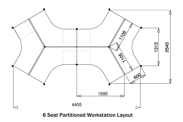 Epod 6 Seater Partitioned Workstation Absoe