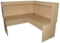 Desk & Return with Hutch - 1800 x 1800 - Young Beech